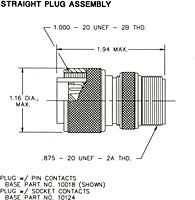 Straight Plug Assembly Dimensional Drawing