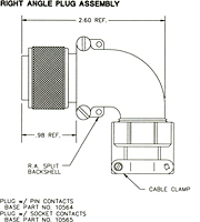 Right Angle Plug Assembly Dimensional Drawing